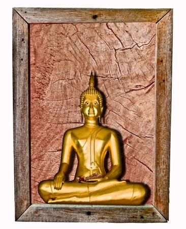 The Buddha status on wood frame isolated on white background Stock Photo - 10778059