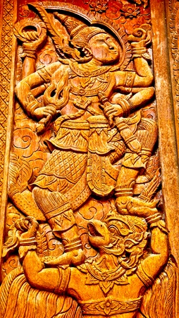 woodcraft: The Carving wood of pattern thai style Stock Photo