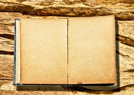 The Old blank of notebook isolated on wood background photo
