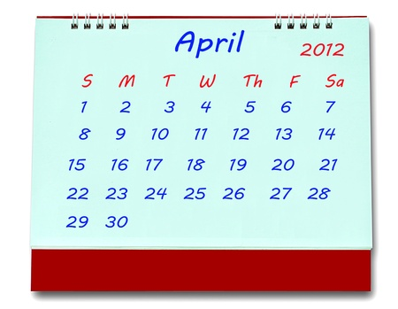 The Calendar of april 2012 isolated on white background photo