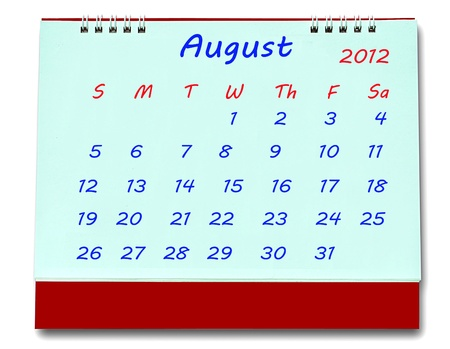 The Calendar of august 2012 isolated on white background Stock Photo - 10777221