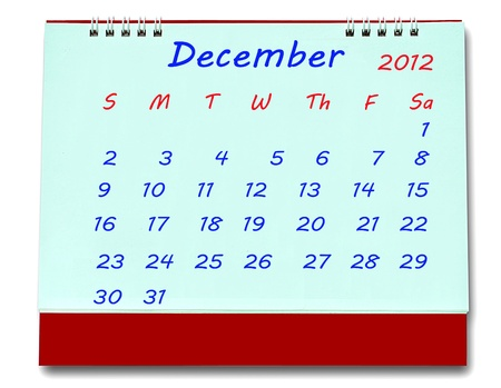 The Calendar of december 2012 isolated on white background photo