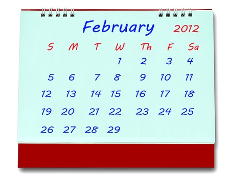 The Calendar of february 2012 isolated on white background Stock Photo - 10777218