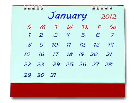 The Calendar of january 2012 isolated on white background Stock Photo - 10777222