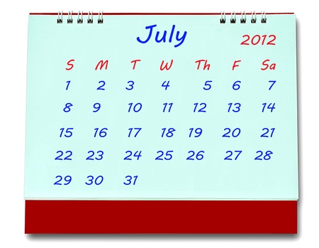 The Calendar of july 2012 isolated on white background photo