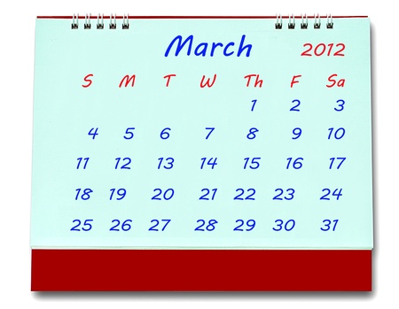 The Calendar of march 2012 isolated on white background photo