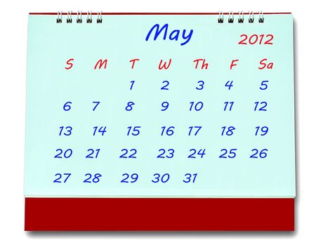 The Calendar of may 2012 isolated on white background photo