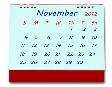 The Calendar of november 2012 isolated on white background Stock Photo - 10777225