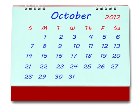 The Calendar of october 2012 isolated on white background Stock Photo - 10777224