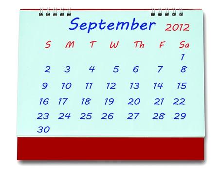 The Calendar of september 2012 isolated on white background Stock Photo - 10777226