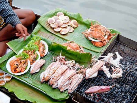 The  seafood on charcoal grilled photo