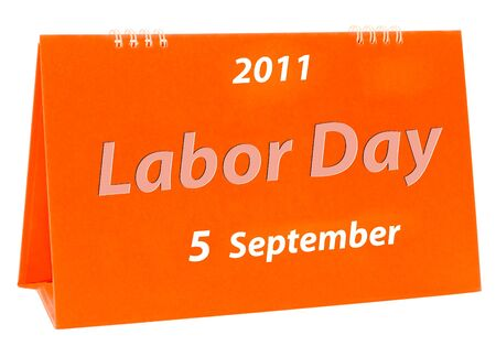 The Calendar of labor day isolated on white background photo