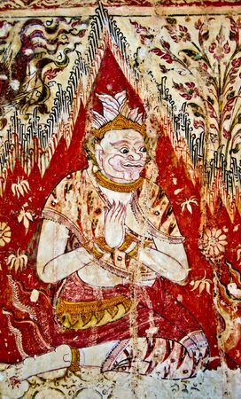 The Old painting of  angel on wall of the temple