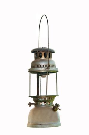 paraffine: De Oude petroleumlamp op een witte achtergrond Stockfoto