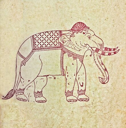 The Old paper about pattern elephant of thai style
