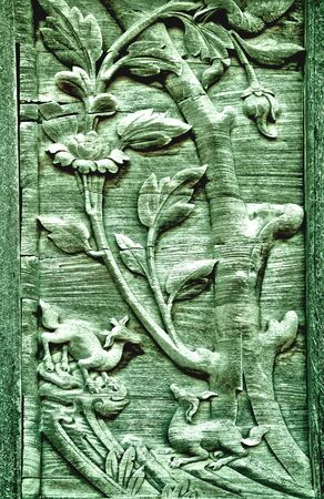 The Carving wood of pattern thai style photo