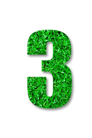 The Number of three green grass isolated on white background photo