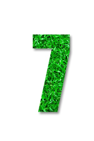 The Number of seven green grass isolated on white background Stock Photo - 11884522