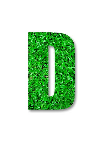 The Green grass alphabet of d isolated on white background Stock Photo - 11884551