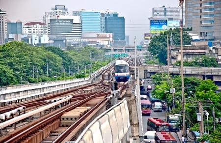 BANGKOK, THAILAND - JUNE 25: The Tracks of train on sky train in central Bangkok on June 5, 2011 in Bangkok
