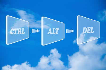 The Abstract button of ctrl-alt-del on blue sky background Stock Photo - 11927744