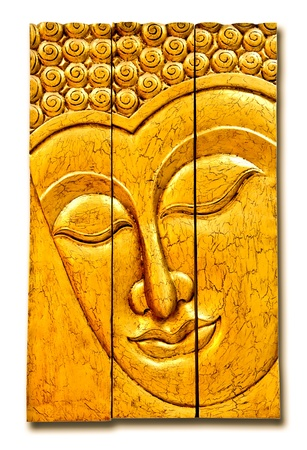 The Carving wood of buddha status isolated on white background photo
