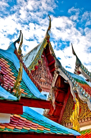 The Beautiful roof of temple on blue sky background Stock Photo - 11927875