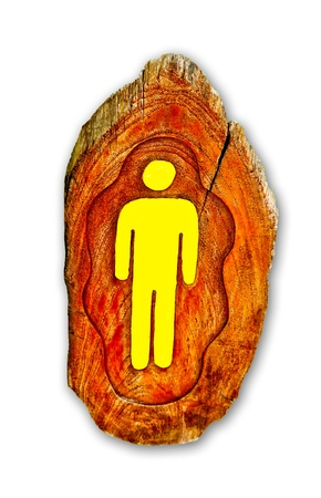 The Guide post wood of restroom for male photo