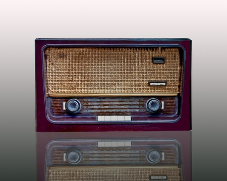The Vintage radio isolated on white background photo