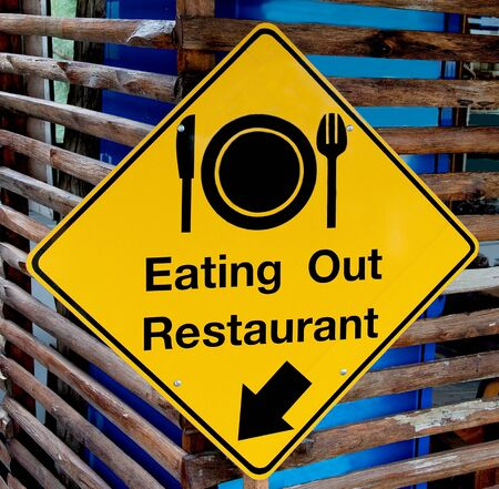 The Yellow plate post of eating out restaurant photo