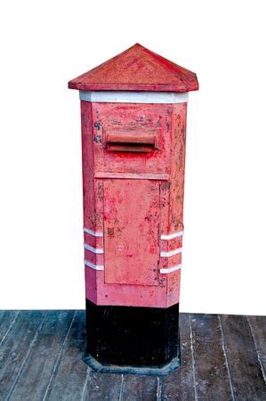The Old postbox isolated on white background photo