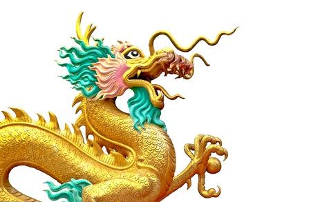The Dragon status isolated on white background photo