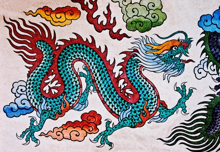 The Colorful of old painting dragon on wall in joss house