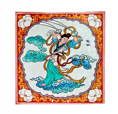 The Colorful of old painting on wall in joss house