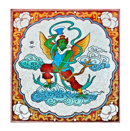 The Colorful of old painting on wall in joss house Stock Photo - 11906243