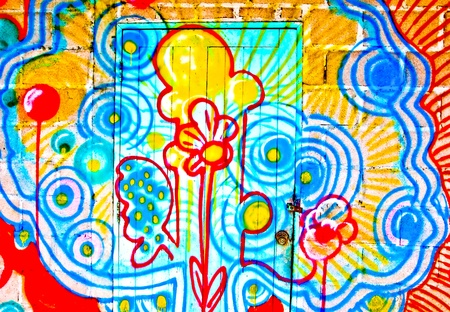 The Colorful graffiti of door