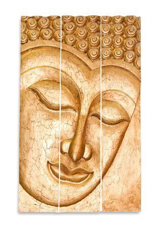 buddha face: he Carving wood of buddha status isolated on white background