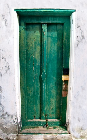 door bolt: The Ancient door of thai style Stock Photo