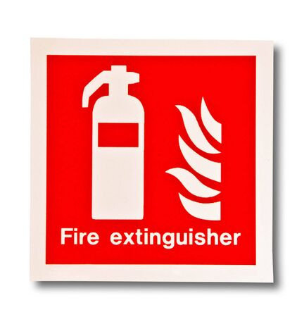 The Symbol of fire extinguisher isolated on white background photo