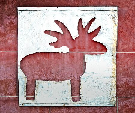 The Drilled reindeer on iron sheet background photo