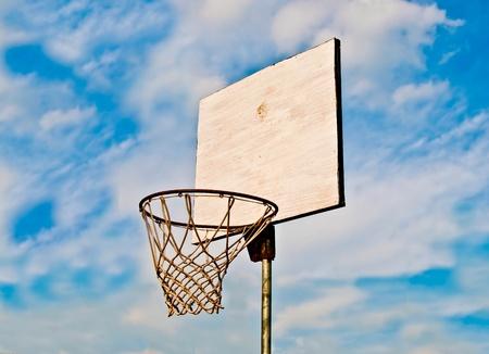 basketball net: The Basketball court on blue sky background Stock Photo