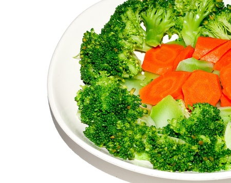 brocolli: The Stir fried brocolli and carrot isolated on white background