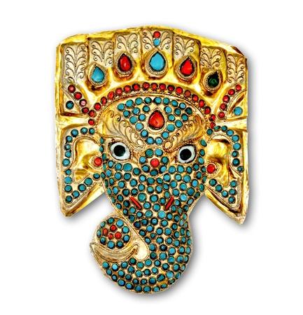 indian mask: The Ganesha isolated on white background Stock Photo