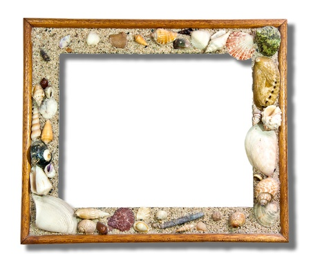 marine crustaceans: The Tropical photo frame with seashells isolated on white background Stock Photo