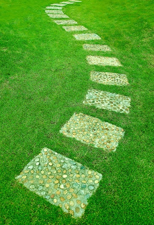 The Stone block walk path in the park with green grass background photo