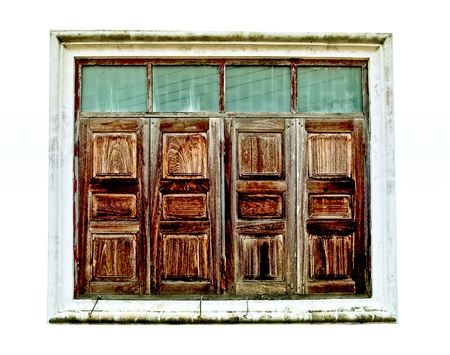 The Old wooden  window isolated on white background photo