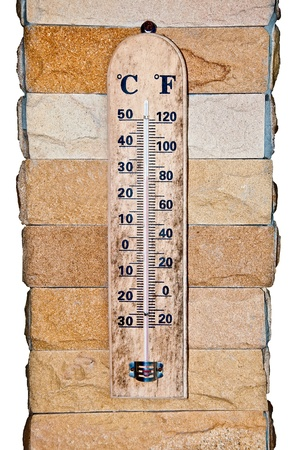 The wooden celsius fahrenheit thermometer photo