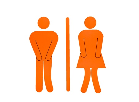 The Women and Men Toilet  Sign isolated on white background