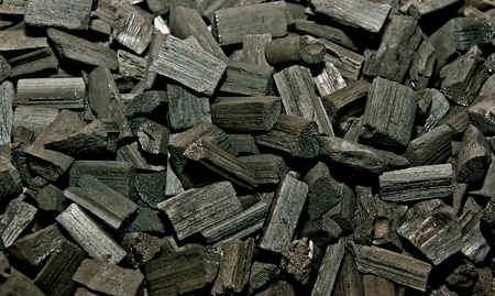 The Closeup of charcoal Stock Photo