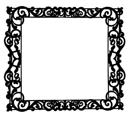 The Antique of iron frame isolated on white background photo
